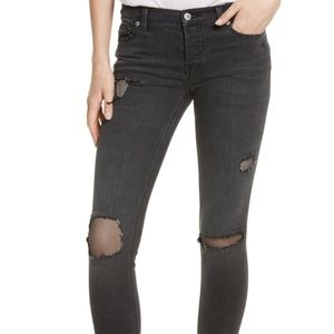 NWT! Free People Fishnet Jeans In Charcoal